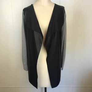 Zara Open Front Cardigan with Faux Leather EUC